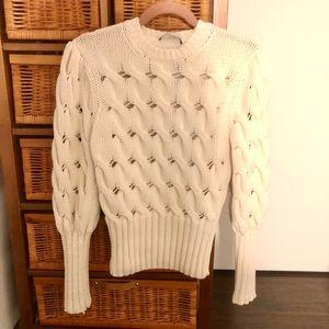 Zara chunky knit puff sleeve sweater, size S